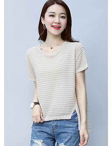 Women's Daily Regular Cardigan,Solid Round Neck Short Sleeves Others Summer Thin Micro-elastic