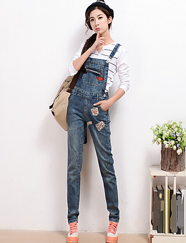 Women's Mid Rise Inelastic Jeans Overalls Pants,Simple Slim Solid