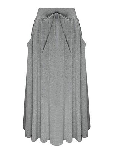 abordables Jupes-Femme Quotidien Coton Balançoire Jupes - Couleur Pleine Noir Bleu Gris Taille unique