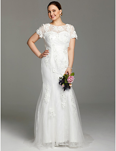 Sheath / Column Jewel Neck Court Train Lace Plus Size Wedding Dress with Appliques by LAN TING BRIDE®