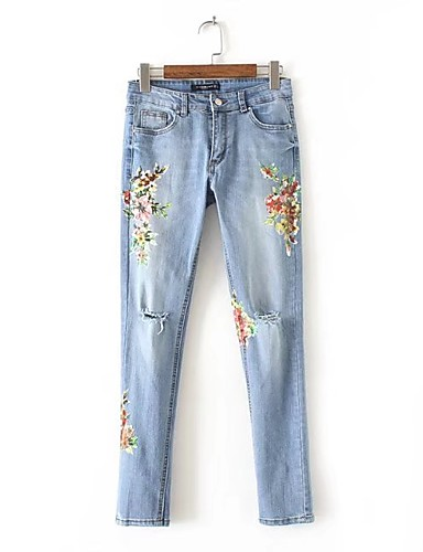 Dame Gatemote Mikroelastisk Skinny Jeans Bukser,Tynn Mellomhøyt liv dratt Blomstret