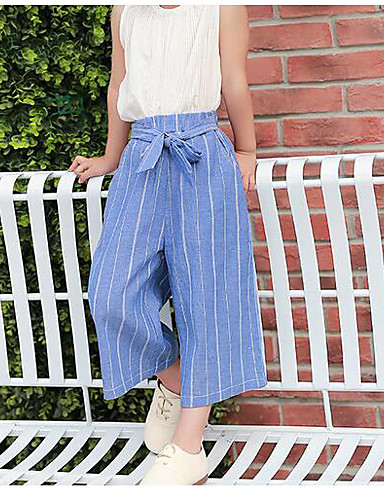 Girls' Stripe Pants-Cotton Summer