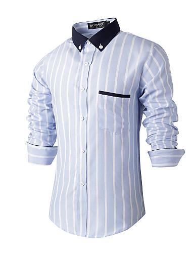 Bomull Polyester Langermet,Skjortekrage Skjorte Stripet Alle sesonger Vintage Enkel ChinoiserieBryllup Fest Ferie Ut på byen