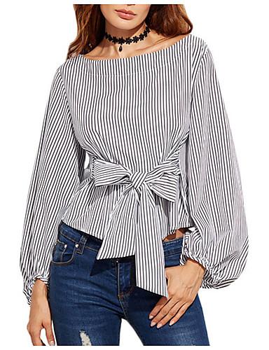Damen Gestreift - Einfach Baumwolle Bluse / Sommer / mit feinen Streifen