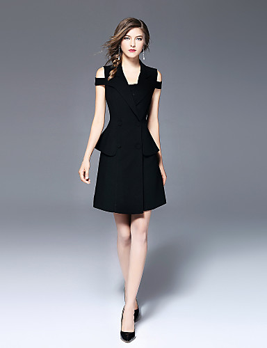 Damen Party / Alltag / Arbeit Skinny Hülle Kleid - Reine Farbe, Solide Knielang V-Ausschnitt