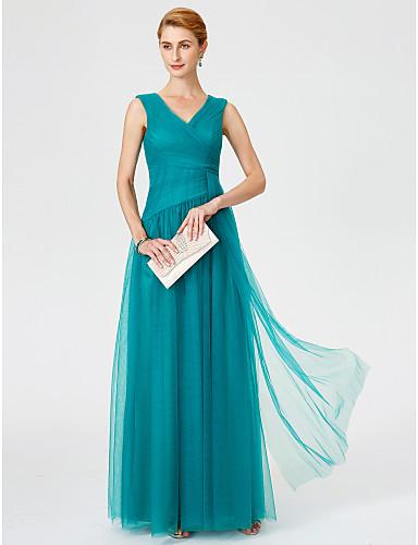 Hercegnő V-alakú Földig érő Tüll Örömanya ruha val vel Cakkos / Ráncolt által LAN TING BRIDE®