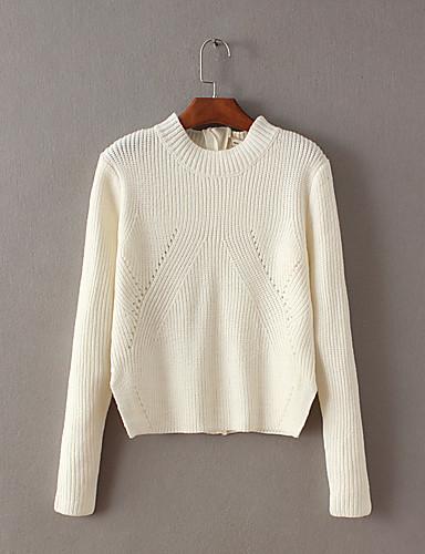 Damen Standard Pullover-Ausgehen Lässig/Alltäglich Einfach Solide Einfarbig Rundhalsausschnitt Langarm Wolle Baumwolle Frühling Herbst