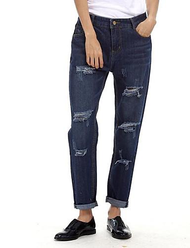 Damen Einfach Mittlere Hüfthöhe Mikro-elastisch Jeans Chinos Haremshosen Hose Solide