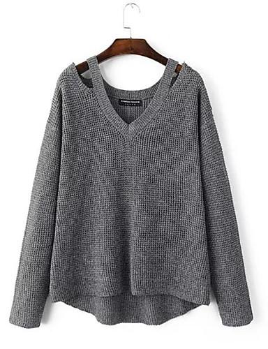 Damen Standard Pullover-Ausgehen Lässig/Alltäglich Street Schick Solide V-Ausschnitt Langarm Baumwolle Herbst Mittel Mikro-elastisch