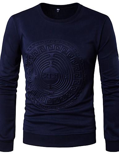 Herren Solide Einfach Lässig/Alltäglich T-shirt,Rundhalsausschnitt Frühling Herbst Langarm Polyester Mittel