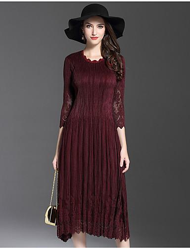 Damen Hülle Kleid-Ausgehen Niedlich Solide Asymmetrisch Midi 3/4 Ärmel Polyester Herbst Mittlere Hüfthöhe Mikro-elastisch Mittel