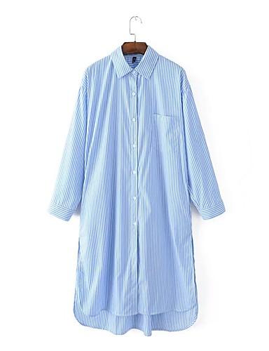 ربيع خريف قطن أخرى كم طويل ميدي قبعة القميص مخطط فستان قميص بسيط أناقة الشارع كاجوال/يومي ذهاب للخارج نساء,وسط مطاطي صغير وسط