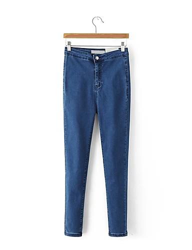 Damen Street Schick Hohe Hüfthöhe Mikro-elastisch Eng Jeans Hose,Baumwolle Winter Frühling Sommer Herbst Solide