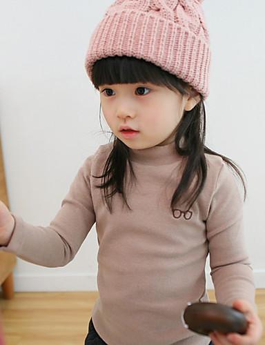 Mädchen T-Shirt einfarbig Bestickt Baumwolle Frühling Herbst Lange Ärmel Normal
