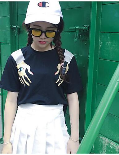 Damen Druck Einfach Niedlich Ausgehen Lässig/Alltäglich T-shirt,Rundhalsausschnitt Sommer Kurzarm Baumwolle Dünn