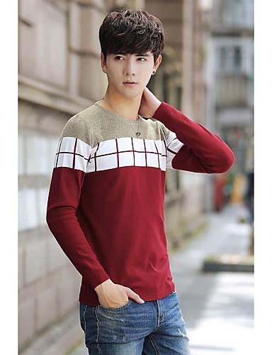 Herren Standard Pullover-Alltag Solide Gestreift Rundhalsausschnitt Langarm Kunstseide Polyester Winter Herbst Mittel Mikro-elastisch