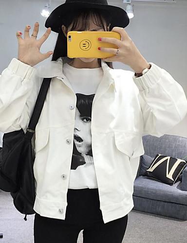 Damen Solide Einfach Lässig/Alltäglich Jacke,Ständer Frühling Lange Ärmel Standard Baumwolle