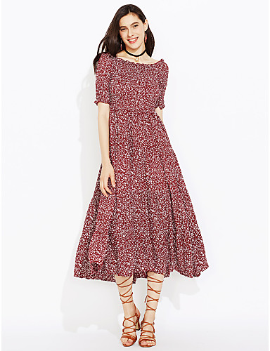 Women's Daily Going out Casual Street chic Sheath Dress,Print Round Neck Knee-length Short Sleeves Faux Fur Cotton Acrylic Polyester