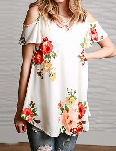 Damen Solide Blumen Sexy Einfach Lässig/Alltäglich T-shirt,Schulterfrei Kurzarm Baumwolle