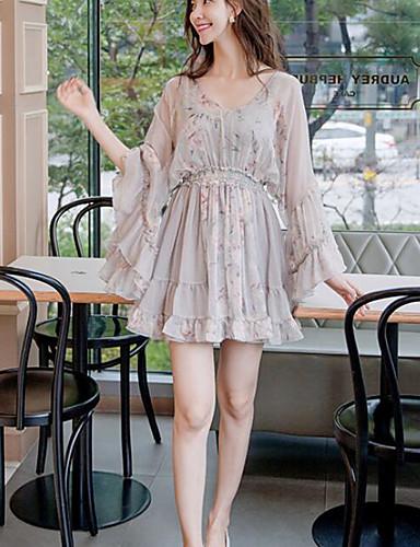 Damen Chiffon Kleid-Ausgehen Lässig/Alltäglich Blumen V-Ausschnitt Übers Knie Langarm Baumwolle Frühling Herbst Mittlere Hüfthöhe