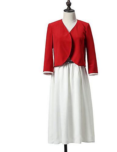 Damen Solide Einfach Lässig/Alltäglich Blazer,Hemdkragen Frühling Herbst ¾ Ärmel Standard Andere