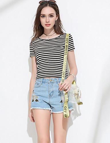 Damen Einfach Mittlere Hüfthöhe Mikro-elastisch Kurze Hosen Schlank Hose Stickerei