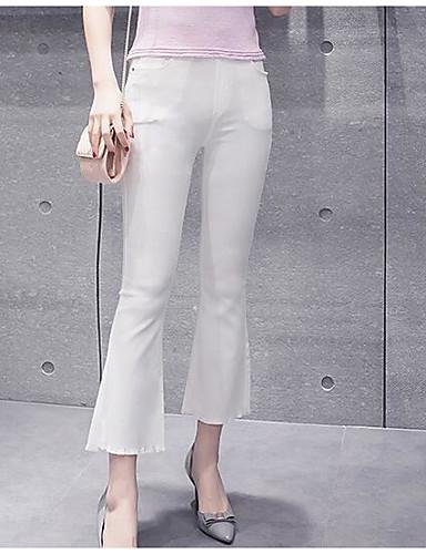 Damen Einfach Hohe Hüfthöhe Mikro-elastisch Chinos Bootcut Hose Solide