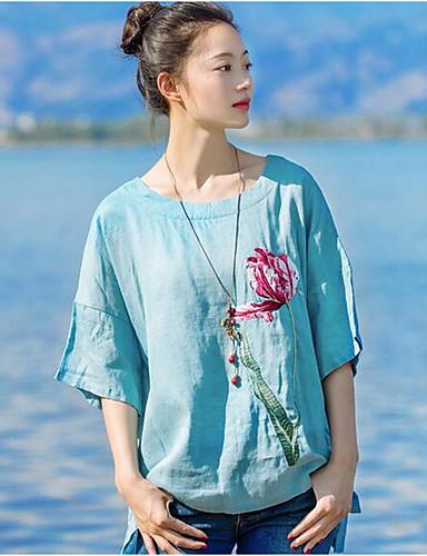 Damen Solide Stickerei Retro Chinoiserie Lässig/Alltäglich T-shirt,Rundhalsausschnitt Halbe Ärmel Baumwolle Leinen