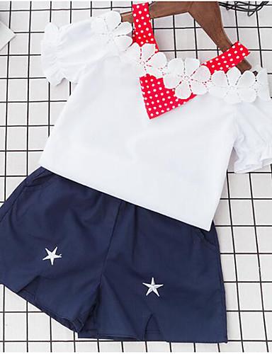 Mädchen Sets Tupfen Baumwolle Polyester Sommer Kurzarm Kleidungs Set