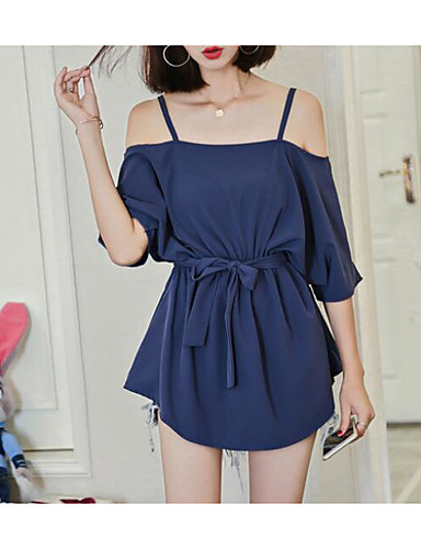 Damen Lose Kleid Solide Mini Gurt / Sommer
