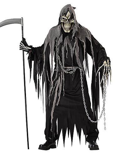 billige Halloween- og karnevalkostymer-Skjelett / Kranium Cosplay Grim Reaper Cosplay Kostumer Halloween Utstyr Herre Dame Halloween Halloween Karneval De dødes dag Festival / høytid Polyester Drakter Svart Helfarge