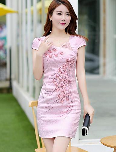 Damen Hülle Kleid-Lässig/Alltäglich Druck Rundhalsausschnitt Übers Knie Kurzarm Baumwolle Sommer Hohe Hüfthöhe Mikro-elastisch Dünn