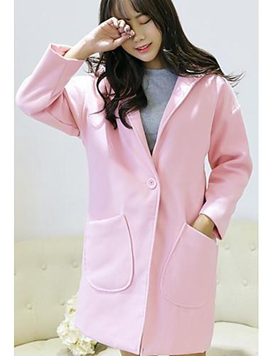 Damen Solide Einfach Street Schick Ausgehen Lässig/Alltäglich Trench Coat,Mit Kapuze Herbst Winter Lange Ärmel Lang Baumwolle
