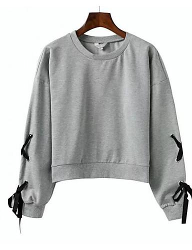 Damen Pullover Lässig/Alltäglich Solide Rundhalsausschnitt Mikro-elastisch Baumwolle Polyester Lange Ärmel Herbst