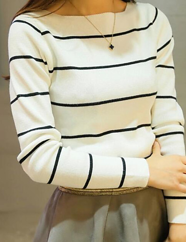 Women's Long Sleeves Cotton Pullover - Striped