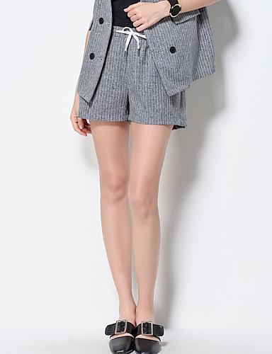Damen Einfach Mittlere Hüfthöhe Mikro-elastisch Kurze Hosen Schlank Hose Gestreift