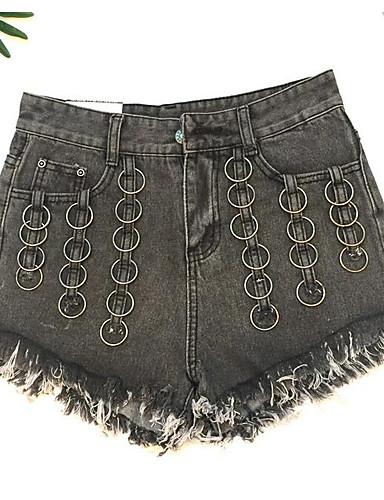 Damen Hohe Hüfthöhe Schlank Kurze Hosen Jeans Hose Solide