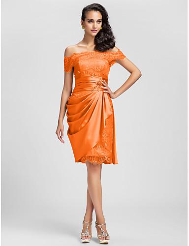 c3333f5a56ee Ίσια Γραμμή Ώμοι Έξω Κοντό   Μίνι Ελαστικό Σατέν   Δαντέλα χάντρες Κοκτέιλ  Πάρτι Φόρεμα με Πλαϊνό ντραπέ   Πιασίματα με TS Couture®