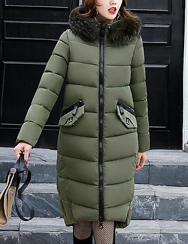 Damen Gefüttert Mantel,Lang Sexy Einfach Niedlich Arbeit Ausgehen Lässig/Alltäglich Solide Druck-Baumwolle Acryl Polyester Polyester