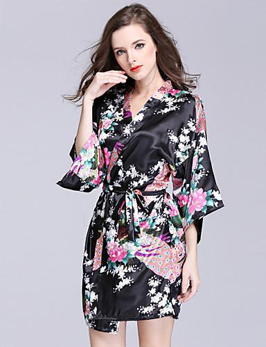 Damen Satin & Seide Roben Nachtwäsche - Druck, Blumen