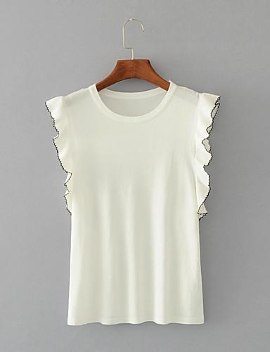 Damen Standard Pullover-Ausgehen Lässig/Alltäglich Einfach Niedlich Solide Rundhalsausschnitt Ärmellos Wolle Baumwolle Polyester Frühling