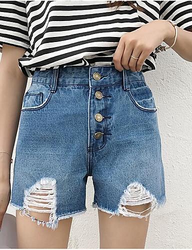 بنطلون جينزات شورتات مطاط صغير ضعيف مرتفع بسيط سادة نساء