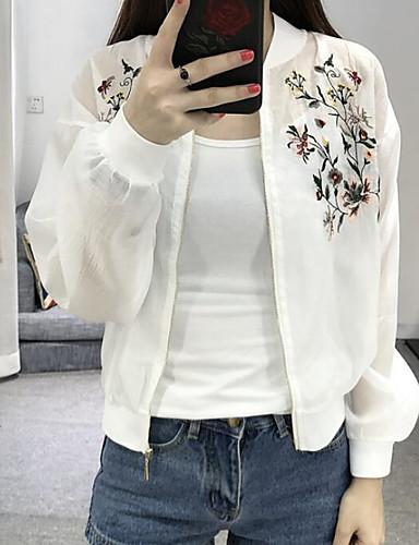 Damen Solide Einfach Niedlich Lässig/Alltäglich Jacke,Ständer Sommer Lange Ärmel Standard Polyester