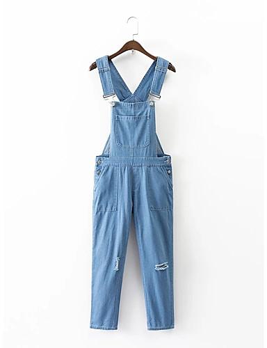 Damen Street Schick Mittlere Hüfthöhe Mikro-elastisch Lose Jeans Overall Hose,Baumwolle Sommer Herbst Ganzjährig Solide