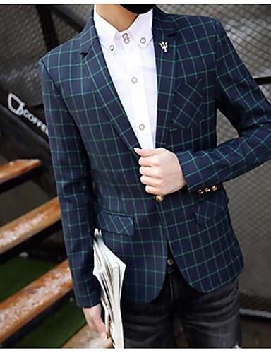Herren Hahnentrittmuster Einfach Lässig/Alltäglich Blazer,Steigendes Revers Herbst Lange Ärmel Standard Polyester