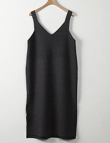 Damen Lang Pullover-Lässig/Alltäglich Einfach Solide V-Ausschnitt Langarm Baumwolle Frühling Herbst Mittel Mikro-elastisch