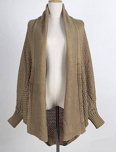 Damen Standard Strickjacke-Lässig/Alltäglich Einfach Solide Hemdkragen Langarm Baumwolle Herbst Winter Mittel Mikro-elastisch
