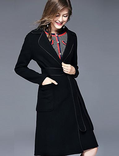 Női Parti / Napi / Alkalmi Kínai Ősz / Tél Hosszú Kabát, Egyszínű V-alakú Hosszú ujj Gyapjú / Poliészter / Nejlon Fekete M / L / XL