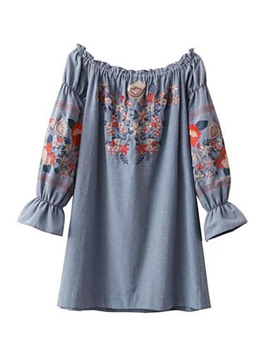 Damen Lässig/Alltäglich Ausgehen Einfach Retro Etuikleid Mini Kleid Solide Blumen Stickerei Bateau Kurzarm Sommer