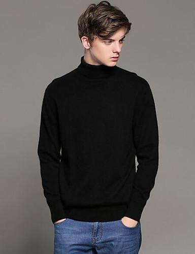Herren Standard Strickjacke-Lässig/Alltäglich Solide Ständer Langarm Wolle Herbst Winter Mittel Mikro-elastisch